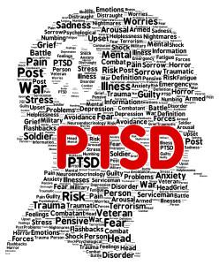 PTSD word cloud shape concept