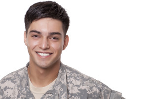 Handsome army veteran smiling